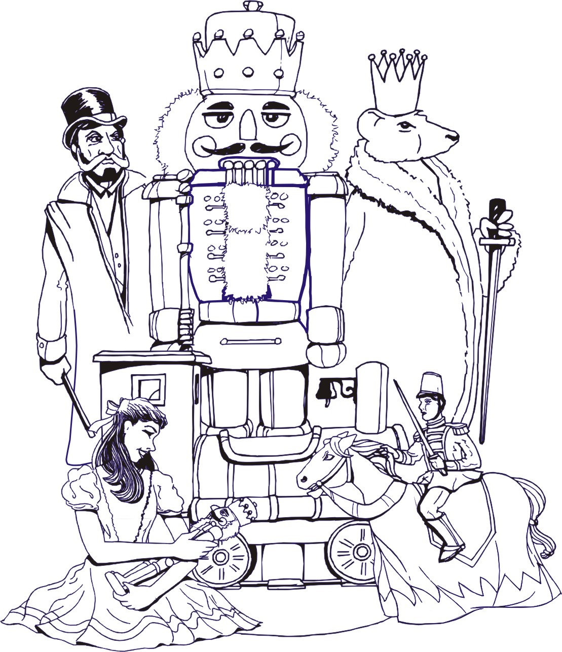 Clip Art The Nutcracker Coloring Pages kids fun page